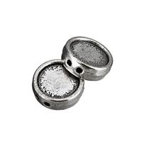 Zinklegierung flache Perlen, flache Runde, antik silberfarben plattiert, Doppelloch, frei von Nickel, Blei & Kadmium, 17x6mm, Bohrung:ca. 1.5mm, 50PCs/Menge, verkauft von Menge