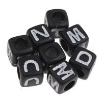 Alphabet Acryl Perlen, Quadrat, mit Brief Muster & Volltonfarbe, 10x10mm, Bohrung:ca. 3-5mm, 500G/Tasche, verkauft von Tasche