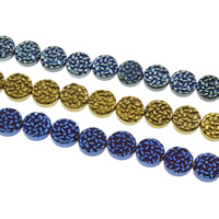 Nicht-magnetische Hämatit Perlen, mit Non- magnetische Hämatit, flache Runde, plattiert, keine, 12x4mm, Bohrung:ca. 1mm, ca. 31PCs/Strang, verkauft per ca. 14 ZollInch Strang