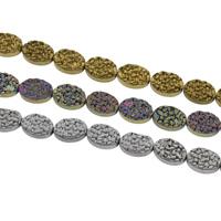 Nicht-magnetische Hämatit Perlen, mit Non- magnetische Hämatit, oval, plattiert, satiniert, keine, 10x14x4mm, Bohrung:ca. 0.5mm, ca. 29PCs/Strang, verkauft per ca. 15 ZollInch Strang