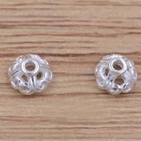 Messing Perlenkappe, versilbert, frei von Blei & Kadmium, 4.5x2.3mm, Bohrung:ca. 1mm, 10PCs/Tasche, verkauft von Tasche