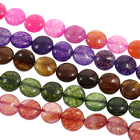 Drachenvenen Achat Perle, flache Runde, keine, 14x6mm, Bohrung:ca. 1mm, ca. 30PCs/Strang, verkauft per ca. 15 ZollInch Strang