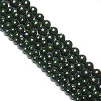 grüner Goldsandstein Perle, rund, verschiedene Größen vorhanden, Bohrung:ca. 1mm, verkauft per ca. 15 ZollInch Strang