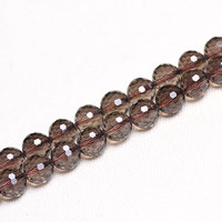 Rauchquarz Perle, rund, natürlich, verschiedene Größen vorhanden & facettierte, Bohrung:ca. 1mm, verkauft per ca. 15 ZollInch Strang