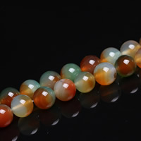 Malachit Achat Perle, rund, verschiedene Größen vorhanden, Bohrung:ca. 1mm, verkauft per ca. 15 ZollInch Strang