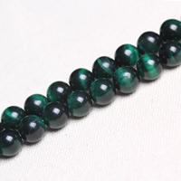 Tigerauge Perle, rund, verschiedene Größen vorhanden, grün, Bohrung:ca. 1mm, verkauft per ca. 15 ZollInch Strang