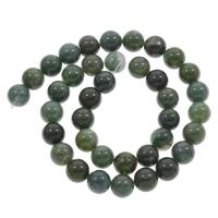 Moos Achat Perle, rund, verschiedene Größen vorhanden, Bohrung:ca. 1mm, verkauft per ca. 15 ZollInch Strang