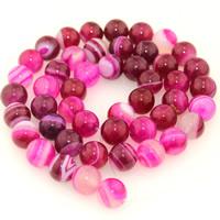 Natürliche Rosa Achat Perlen, rund, verschiedene Größen vorhanden, verkauft per ca. 15.5 ZollInch Strang