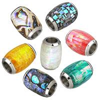 Edelstahl Magnetverschluss, mit Muschel, oval, Mosaik, keine, 10.50x14.50mm, Bohrung:ca. 6mm, 5PCs/Menge, verkauft von Menge