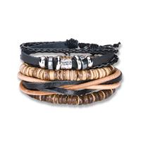 comeon® Schmuck Armband, Kuhhaut, mit Gewachste Nylonschnur & Holz & Zinklegierung, plattiert, unisex & einstellbar, Länge:ca. 7 ZollInch, 4SträngeStrang/setzen, verkauft von setzen