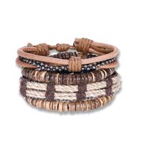 comeon® Schmuck Armband, Kuhhaut, mit Gewachste Nylonschnur & Holz & Kunststoff Perlen, plattiert, unisex & einstellbar, Länge:ca. 7 ZollInch, 4SträngeStrang/setzen, verkauft von setzen