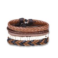 comeon® Schmuck Armband, Kuhhaut, mit Gewachste Nylonschnur & Holz, unisex & einstellbar, Länge:ca. 7 ZollInch, 4SträngeStrang/setzen, verkauft von setzen