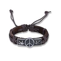 comeon® Schmuck Armband, Kuhhaut, mit Gewachste Nylonschnur & Zinklegierung, Frieden Logo, antik silberfarben plattiert, unisex & einstellbar, verkauft per ca. 6.7 ZollInch Strang