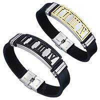 Herren-Armband & Bangle, Kuhhaut, mit Edelstahl, plattiert, mit römischen Zahl & für den Menschen, keine, 42x16x6.5mm, 14x3mm, verkauft per ca. 8 ZollInch Strang
