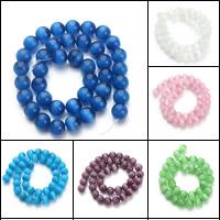 Cats Eye Perlen Schmuck, Katzenauge, rund, verschiedene Größen vorhanden, keine, Bohrung:ca. 1mm, verkauft per ca. 15.5 ZollInch Strang