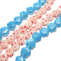 Millefiori Scheibe Lampwork Perlen, mit Millefiori Scheibe & gemischt, 10-12x10-12x4-5mm, Bohrung:ca. 0.5mm, Länge:ca. 15-15.5 ZollInch, 10SträngeStrang/Menge, ca. 34PCs/Strang, verkauft von Menge