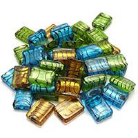 Goldsand & Silberfolie Lampwork Perlen, Goldfolie und Siberfolie, gemischte Farben, 20x15x7mm, Bohrung:ca. 1.5mm, 5Taschen/Menge, 20PCs/Tasche, verkauft von Menge