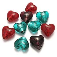 Silberfolie Lampwork Perlen, Herz, gemischte Farben, 25x24x15.50mm, Bohrung:ca. 2.5mm, 2Taschen/Menge, 20PCs/Tasche, verkauft von Menge