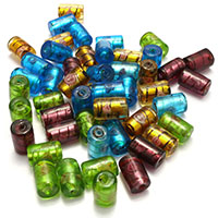 Silberfolie Lampwork Perlen, Zylinder, gemischte Farben, 16.50x10.50mm, Bohrung:ca. 1.5mm, 5Taschen/Menge, 20PCs/Tasche, verkauft von Menge