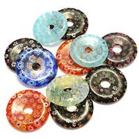 Millefiori Scheibe Lampwork Perlen, Kreisring, mit Millefiori Scheibe, gemischte Farben, 29.50x4.50mm, Bohrung:ca. 7mm, 5Taschen/Menge, 10PCs/Tasche, verkauft von Menge
