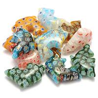 Millefiori Scheibe Lampwork Perlen, Dolphin, mit Millefiori Scheibe, gemischte Farben, 14x26x7.50mm, Bohrung:ca. 1mm, 3Taschen/Menge, 20PCs/Tasche, verkauft von Menge