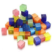 Mode Glasperlen, Glas, Würfel, gemischte Farben, 8x8x8mm, Bohrung:ca. 1mm, 8Taschen/Menge, ca. 50PCs/Tasche, verkauft von Menge