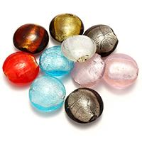 Goldsand & Silberfolie Lampwork Perlen, Glas, Goldfolie und Siberfolie, gemischte Farben, 25-29x27-29x12-14mm, Bohrung:ca. 2-2.5mm, 5Taschen/Menge, 20PCs/Tasche, verkauft von Menge