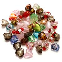 Goldsand & Silberfolie Lampwork Perlen, Goldfolie und Siberfolie & gemischt, 13-16x12-16x9-11mm, Bohrung:ca. 1-2mm, 3Taschen/Menge, ca. 50PCs/Tasche, verkauft von Menge