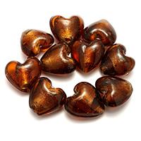 Goldfolie Lampwork Perlen, Herz, 28-29x27x15-17mm, Bohrung:ca. 2.5-3mm, 2Taschen/Menge, 20PCs/Tasche, verkauft von Menge