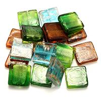 Goldfolie Lampwork Perlen, Quadrat, Goldsand, gemischte Farben, 20-22x20x5-7mm, Bohrung:ca. 1-2.5mm, 5Taschen/Menge, 20PCs/Tasche, verkauft von Menge