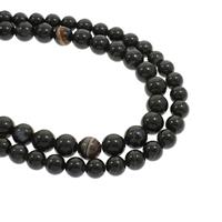 Natürliche Streifen Achat Perlen, rund, verschiedene Größen vorhanden, schwarz, Bohrung:ca. 1mm, verkauft per ca. 15.5 ZollInch Strang