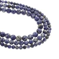 Blauer Tupfen Stein Perlen, blauer Punkt, rund, natürlich, verschiedene Größen vorhanden, Bohrung:ca. 1mm, verkauft per ca. 15.5 ZollInch Strang