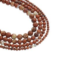 Roter Jaspis Perle, rund, natürlich, verschiedene Größen vorhanden, Bohrung:ca. 1mm, verkauft per ca. 15.5 ZollInch Strang