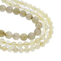 Rutilated Quarz Perle, rund, natürlich, verschiedene Größen vorhanden, Goldfarbe, Bohrung:ca. 1mm, verkauft per ca. 15.5 ZollInch Strang