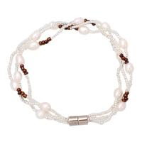 Natürliche kultivierte Süßwasserperlen Armband, mit Glas-Rocailles, Messing Magnetverschluss, für Frau, 4-5mm, verkauft per ca. 6.5 ZollInch Strang