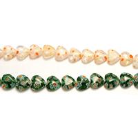 Millefiori Scheibe Lampwork Perlen, Herz, mit Millefiori Scheibe, gemischte Farben, 7-8x8-8.5x3mm, Bohrung:ca. 1mm, Länge:ca. 15.5-16 ZollInch, 10SträngeStrang/Menge, ca. 50PCs/Strang, verkauft von Menge