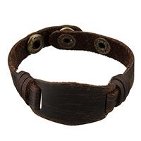 Herren-Armband & Bangle, Full-Grain Rindsleder, Messing Druckknopf Verschluss, antike Bronzefarbe plattiert, für den Menschen, Kaffeefarbe, 45x25mm, 12x1.5mm, verkauft per ca. 8.5 Strang