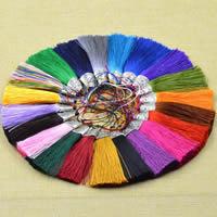 Dekorative Quaste, Polyester, mit Schwarzer Achat & Zinklegierung, antik silberfarben plattiert, keine, 85x20mm, verkauft von PC