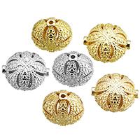 Messing hohle Perlen, Trommel, plattiert, Hohe Qualität überzogen und verblassen nie, keine, frei von Nickel, Blei & Kadmium, 15x13x10mm, Bohrung:ca. 0.5mm, 50PCs/Tasche, verkauft von Tasche