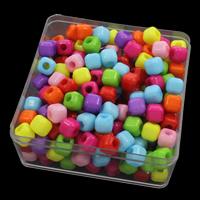 European Acrylperlen, Acryl, mit Kunststoff Kasten, Volltonfarbe, gemischte Farben, 5-10mm, 94x94x41mm, Bohrung:ca. 5mm, 150G/Box, verkauft von Box