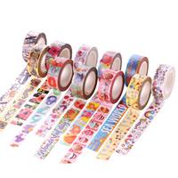 Dekorative Band, Papier, Rondell, klebrig & verschiedene Muster für Wahl, 15mm, ca. 10m/PC, verkauft von PC