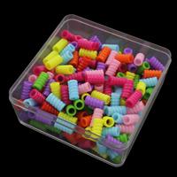 European Acrylperlen, Acryl, mit Kunststoff Kasten, Volltonfarbe, gemischte Farben, 13.5x7mm, 94x94x41mm, Bohrung:ca. 4mm, 150G/Box, verkauft von Box