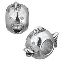 Edelstahl European Perlen, Fisch, Schwärzen, 8.50x13x17mm, Bohrung:ca. 5.5mm, 10PCs/Menge, verkauft von Menge