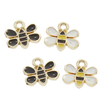 Zinklegierung Tier Anhänger, Biene, goldfarben plattiert, Emaille, keine, frei von Blei & Kadmium, 10x9x2mm, Bohrung:ca. 1mm, 50PCs/Tasche, verkauft von Tasche