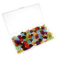 Transparente Acryl-Perlen, Acryl, mit Kunststoff Kasten, Herz, transluzent, gemischte Farben, 13x13x5mm, 80x150x20mm, Bohrung:ca. 1mm, 100G/Box, verkauft von Box