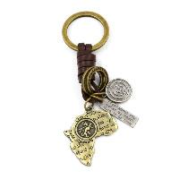 Schlüsselanhänger, Zinklegierung, mit Kuhhaut, Landkarte, plattiert, 32x108mm, 3SträngeStrang/Menge, verkauft von Menge