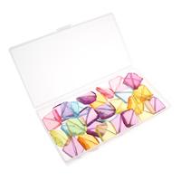 Transparente Acryl-Perlen, Acryl, mit Kunststoff Kasten, transluzent, gemischte Farben, 26x28x8mm, 80x150x20mm, Bohrung:ca. 1.5mm, 100G/Box, verkauft von Box