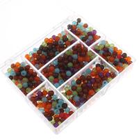 Transparente Acryl-Perlen, Acryl, mit Kunststoff Kasten, rund, transluzent, gemischte Farben, 6mm, 80x150x20mm, Bohrung:ca. 1mm, 100G/Box, verkauft von Box