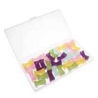 Transparente Acryl-Perlen, Acryl, mit Kunststoff Kasten, transluzent, gemischte Farben, 24x12mm, 80x150x20mm, Bohrung:ca. 5mm, 100G/Box, verkauft von Box