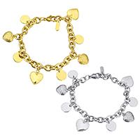 Edelstahl Schmuck Armband, plattiert, Armband  Bettelarmband & Oval-Kette & für Frau, keine, 14x16.5mm, 11mm, verkauft per ca. 8.5 ZollInch Strang